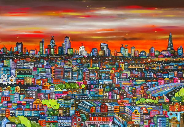 Cool Vibrant London, original acrylic painting, 130 x 90